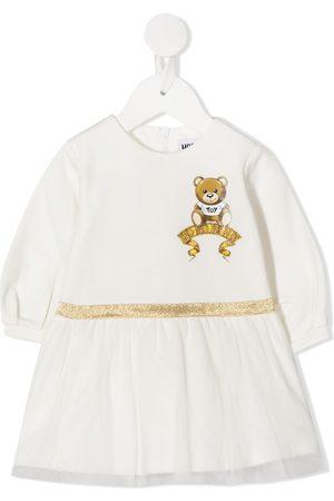 Moschino Teddy bear logo print glitter detail dress