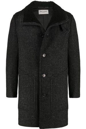 Saint Laurent Shearling-collar check wool coat