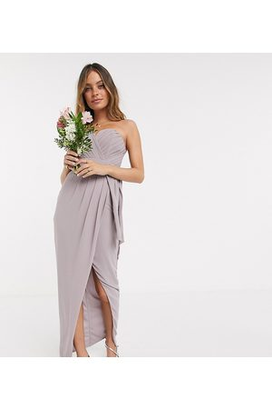 TFNC Bridesmaid exclusive bandeau wrap midaxi dress with pleated detail in grey