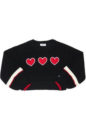 MONNALISA Knit Sweater W/ Heart Patch