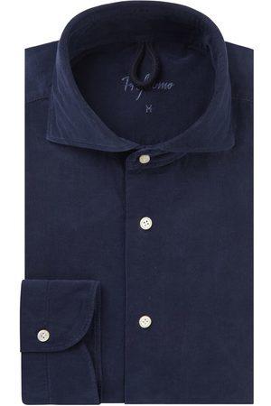 Profuomo Heren navy corduroy overhemd Sky Blue