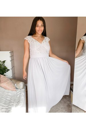 TFNC Plus lace plunge maxi dress with scaloped back-Grey