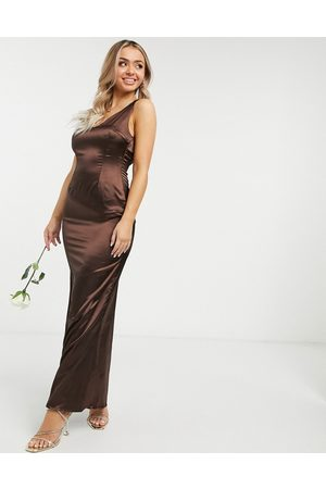 TFNC Bridesmaid satin maxi dress with deep plunge back in chocolate-Brown