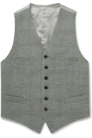 KINGSMAN Heren Gilets - Conrad Checked Wool and Satin Waistcoat