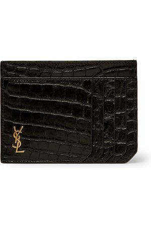 Saint Laurent Heren Portemonnees - Logo-Appliquéd Croc-Effect Leather Cardholder
