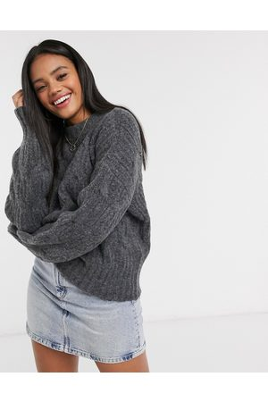 Urban Bliss Balloon sleeve cable knit jumper in medium grey
