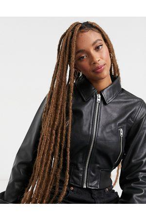 Topshop Premium leather bomber jacket in black