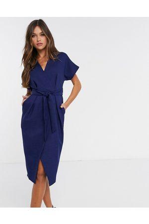 Closet Wrap tie midi dress in navy