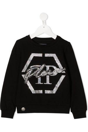 Philipp Plein Rhinestone logo rib-trimmed sweatshirt