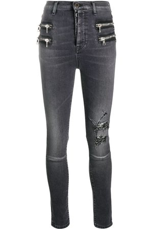 Unravel Project Distressed-effect zip-detail denim jeans