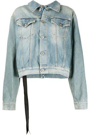 Unravel Project Stone-wash backwards denim jacket