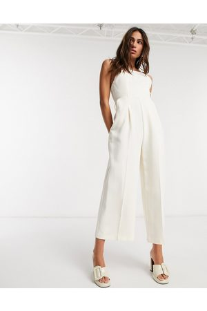 Topshop Strappy back jumpsuit-White