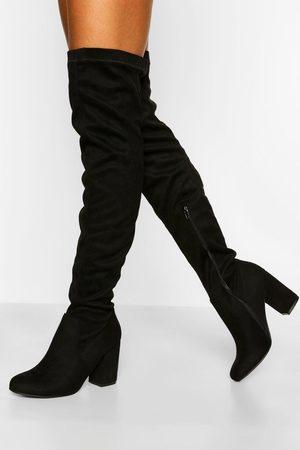 Boohoo Brede Stretch Overknee Laarzen Met Blokhakken