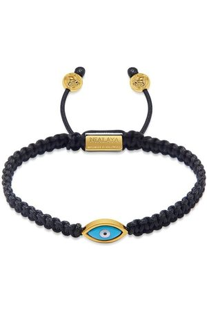Nialaya Men's Black String Bracelet with Gold Evil Eye
