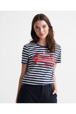 Superdry Gestreept T-shirt met satijnen Vintage logo