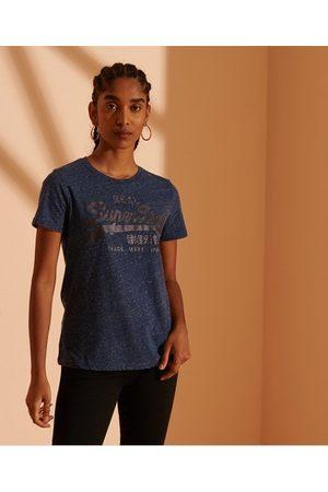 Superdry Dames T-shirts - Cult Studios Tonal T-shirt met Vintage logo en glitters