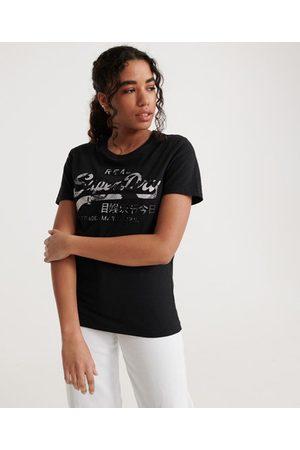 Superdry T-shirt met Vintage logo en rozenprint