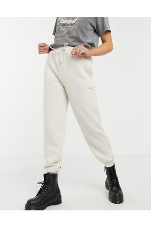 Topshop Quilted joggers in ecru-White