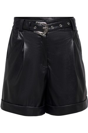 Only Faux Leather Shorts Dames Zwart