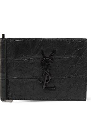 Saint Laurent Heren Portemonnees - Logo-Appliquéd Croc-Effect Leather Bifold Cardholder with Money Clip