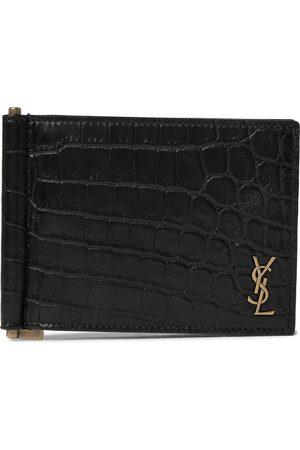 Saint Laurent Heren Portemonnees - Logo-Appliquéd Croc-Effect Leather Billfold Wallet with Money Clip