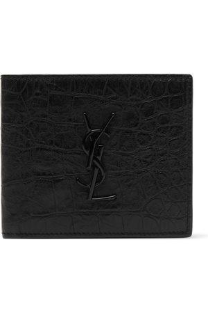 Saint Laurent Heren Portemonnees - Logo-Appliquéd Croc-Effect Leather Billfold Wallet