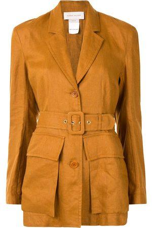 Karen Walker Dames Blazers - Chamomile single-breasted linen blazer