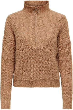 Only Zip Detail Knitted Pullover Dames Beige