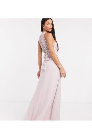 TFNC Dames Lange jurken - Bridesmaid wrap lace maxi dress in pink