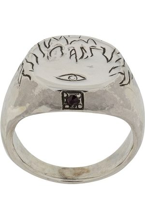 HENSON Engraved Flames & Eye ring with ruby