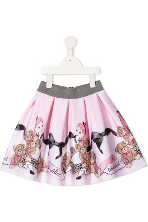 MONNALISA Pleated graphic print skirt