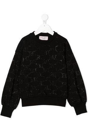 Alberta Ferretti Rhinestone-logo cotton sweatshirt