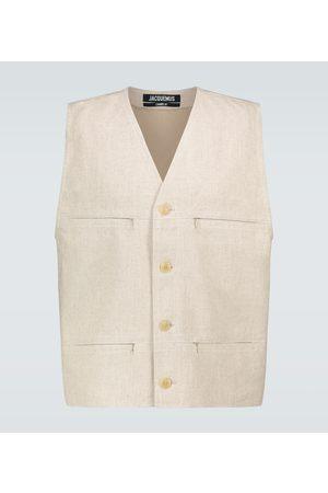 Jacquemus Heren Bodywarmers - Le Gilet linen vest