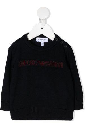 Emporio Armani Sweaters - Intarsia logo crew-neck jumper