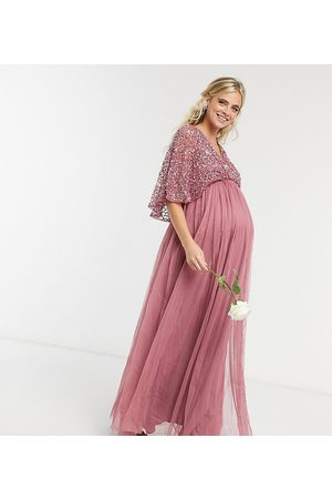Maya Dames Lange jurken - Bridesmaid cape detail wrap maxi dress in delicate sequin with tulle skirt in rose-Pink