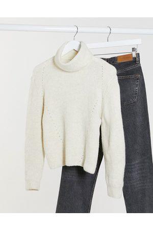 Topshop Roll neck jumper in cream-Tan