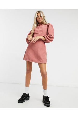 Topshop Cord baby doll mini dress in pink