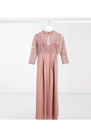 Little Mistress Lace detail midaxi dress in cosmetic pink