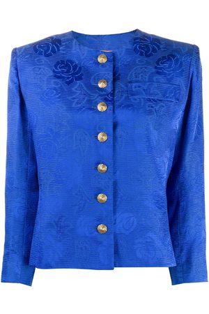 Yves Saint Laurent 2000s floral jacquard collarless jacket