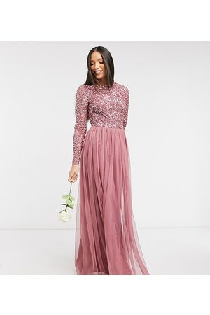 Maya Dames Maxi rokken - Delicate sequin long sleeve maxi dress with tulle skirt in rose-Pink