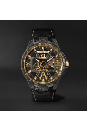 Ulysse Nardin Heren Horloges - Skeleton X Hand-Wound 43mm Carbonium Gold and Full-Grain Leather Watch