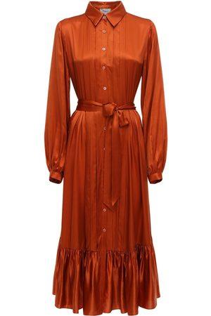 TEMPERLEY LONDON Dames Midi jurken - Ruffled Satin Shirt Midi Dress