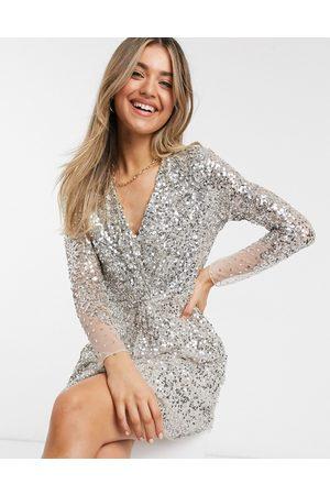 French Connection Dames Korte jurken - Embellished v-neck mini dress in grey