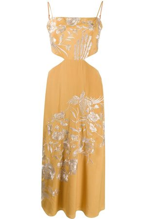 JOHANNA ORTIZ Floral-embroidered cut-out midi dress