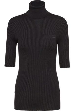 Prada Logo-detail ribbed-knit jumper