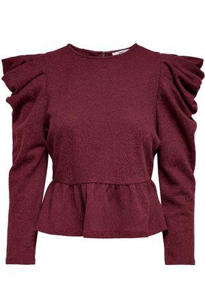 Only Puff Sleeve Long Sleeved Top Dames Rood