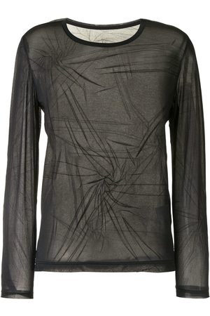 Y'S Sheer ruched long-sleeved top
