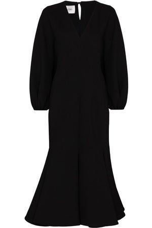 VALENTINO Gathered-sleeve V-neck midi dress
