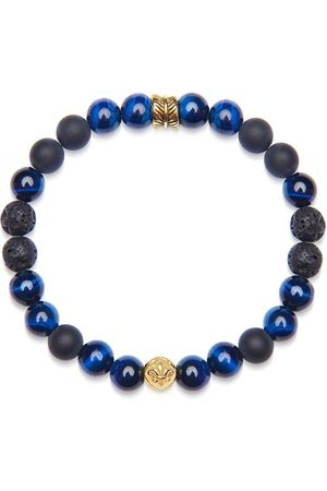 Nialaya Men's Wristband with Blue Tiger Eye, Lava Stone, Matte Onyx, and Gold Feather Beads