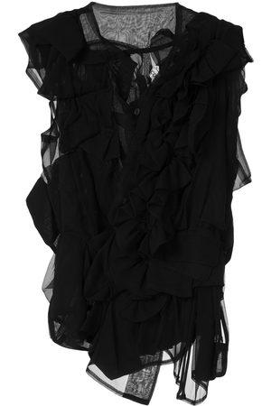 Comme Des Garçons Pre-Owned Ruffle sheer blouse